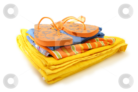 Beach clothes stock photo, Summer beach clothes by Mark Yuill