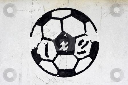 Painted football stock photo, Football symbol by Mark Yuill