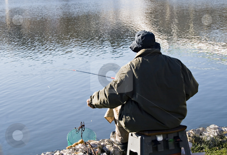 Fisherman stock photo, Fisherman by the lake by Paulo Resende