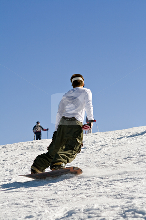 Snowboard stock photo, Men descending mountain in a snowboard by Paulo Resende
