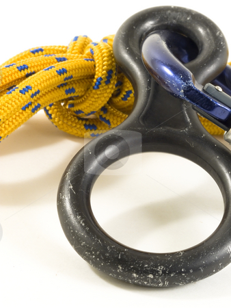 Carabiner and rope with DOF stock photo, Used carabiner and rope isoletad on white by Paulo Resende