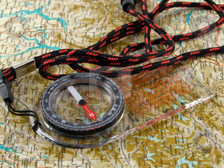 Compass  stock photo, Compass in top of map by Paulo Resende