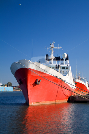 Big red ship stock photo, Fishing ship in dock by Paulo Resende