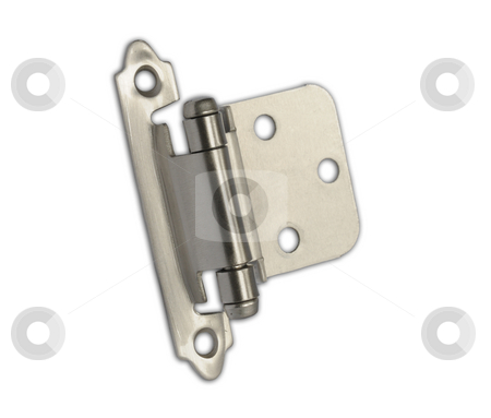 Cabinet Hinge stock photo, Traditional Cabinet Hinge on white background by Will Burwell
