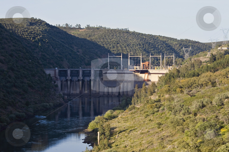 Dam in valley stock photo, Barrage in Alentejo valley by Paulo Resende