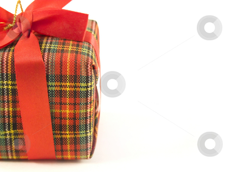 Christmas present box stock photo, One chirstmas box isolated on white by Paulo Resende