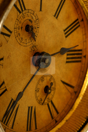 Old clock closeup stock photo, Old broken clock by Mark Yuill