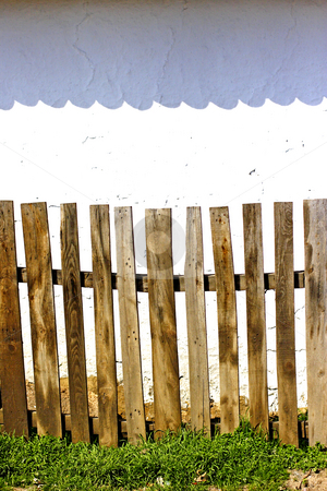 Old wooden fence stock photo, Old wooden fence and wall by Mark Yuill
