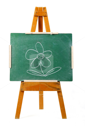 Flower on chalk board stock photo, Drawing of a flower on a  green chalk board by Mark Yuill