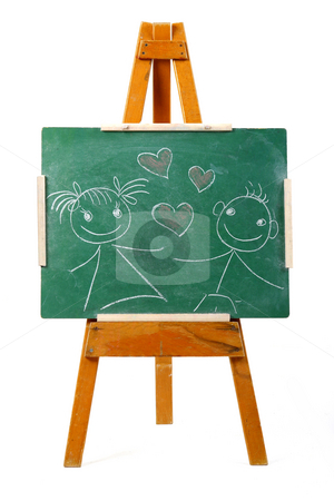 Valentines day sketch stock photo, Girl and boy in love drawing on chalk board by Mark Yuill