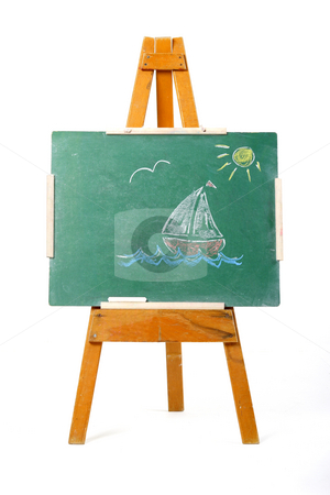 Drawing of a sailing boat  stock photo, Drawing of a sailing boat on a green chalk board by Mark Yuill
