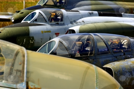 Abandoned jet fighters stock photo, Abandoned jet fighter planes by Mark Yuill