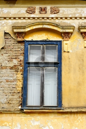 Old window stock photo, Old window and wall by Mark Yuill