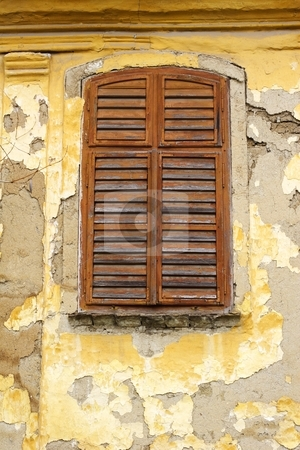 Window shutters and old paint stock photo, Window shutters and old painted wall by Mark Yuill