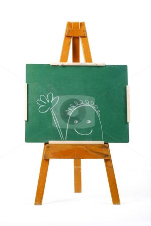 Happy person drawn on chalk board stock photo, Happy person drawn on green chalk board by Mark Yuill