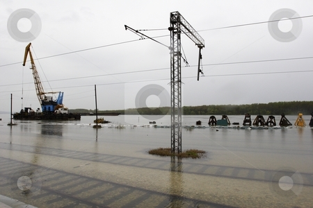 Flooded railway stock photo, Flooded rail yard Smedrevo Serbia by Mark Yuill