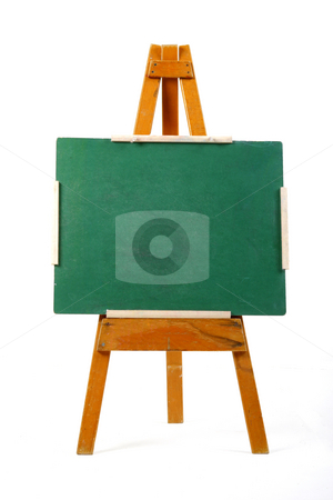 Blank chalk board stock photo, Blank green chalk board on easel by Mark Yuill