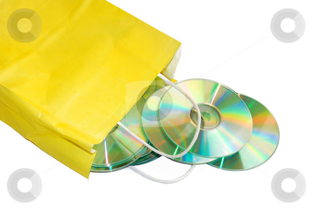 CD store stock photo, Yellow paper bag with CD isolated over white by Julija Sapic
