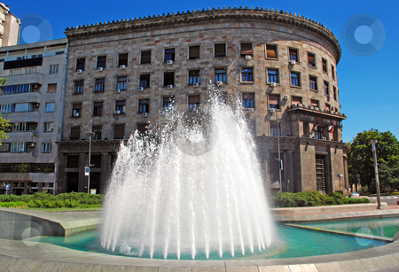 Fountain in center of Belgrade stock photo, Fountain and architecture background in center of Belgrade, Serbia by Julija Sapic
