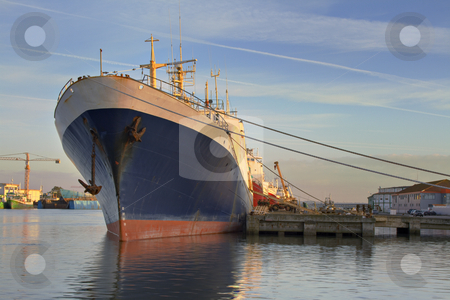 Big ship  stock photo, Big ship unload on dock in the sunset by Paulo Resende