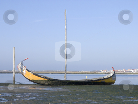 Moliceiro boat stock photo, Typical moliceiro boat on land - Aveiro by Paulo Resende