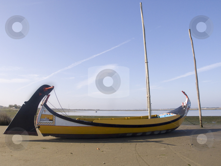 Moliceiro boat stock photo, Typical moliceiro boat on land - Aveiro, Portugal by Paulo Resende