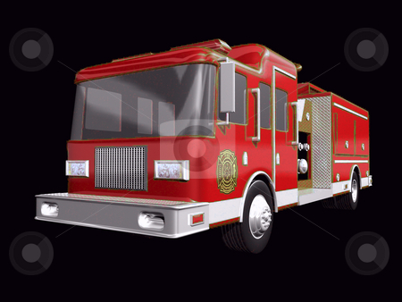 Firetruck stock photo, 3D fire truck on a black background by John Teeter