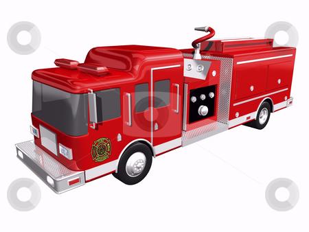 Firetruck stock photo, Fire truck on white background by John Teeter