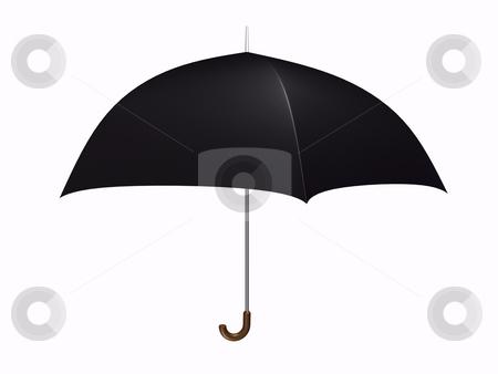 Umbrella Black stock photo, Black umbrella on white background by John Teeter
