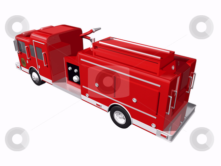 Firetruck rear view stock photo, Fire truck rear view on white background by John Teeter