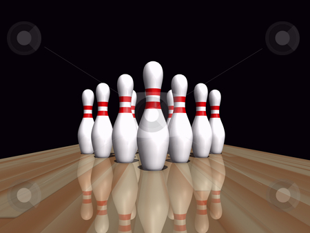 Bowling pins stock photo, Bowling pins on wooden lane by John Teeter