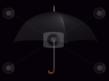 Umbrella Black stock photo, Black umbrella on a black background by John Teeter