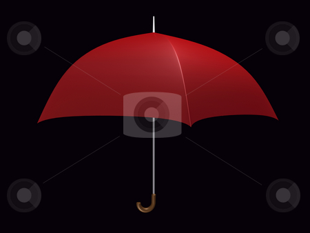 Umbrella Red stock photo, Red umbrella on black background by John Teeter