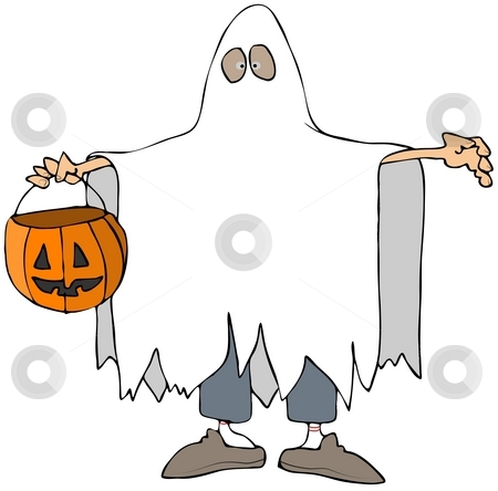 Ghost Costume stock photo, This illustration depicts a small boy in a ghost costume. by Dennis Cox