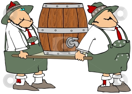 Beer Barrel Carriers stock photo, This illustration depicts two Bavarian men carrying a beer barrel on a stretcher. by Dennis Cox