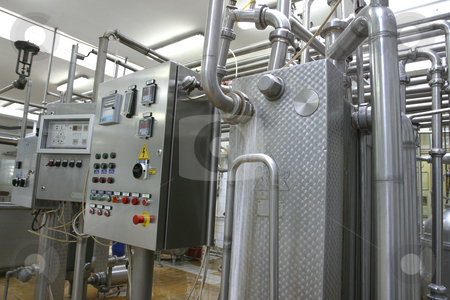 Industrial control system in modern dairy factory stock photo, Industrial control system in modern dairy factory by Mark Yuill
