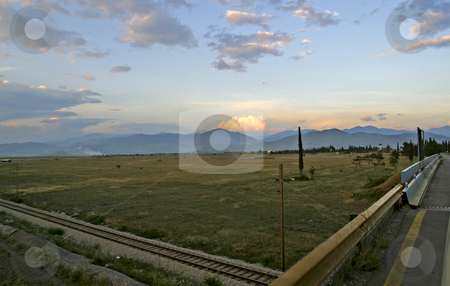 View of flat planes near Podgorica stock photo, View of flat planes near Podgorica in Montenegro by Mark Yuill