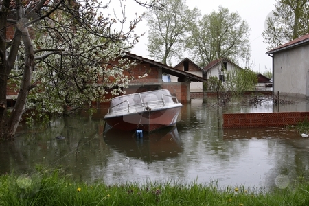 Flooded homes stock photo, Flood damaged property by Mark Yuill