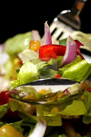 Greek salad stock photo, Greek salad with feta cheese and olives by Mark Yuill