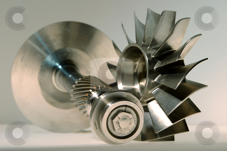 Precision engineered turbines stock photo, Precision engineered turbines with a gray background by Mark Yuill