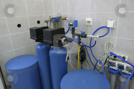 Water filtration system in laboratory stock photo, Water filtration system in laboratory of dairy production factory by Mark Yuill