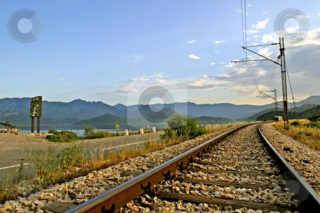 Empty railroad track stock photo, Empty railroad track in Montenegro by Mark Yuill