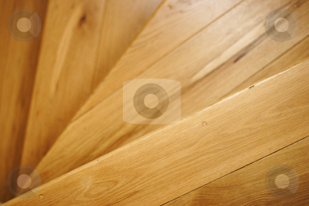 Wooden stair case stock photo, Close up detail of wooden stair case by Mark Yuill