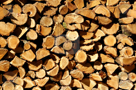 Log pile stock photo, Stacked winter logs for heating by Mark Yuill