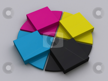 CMYK Objects stock photo, A set of objects with CMYK colors. by Gregory Dunn