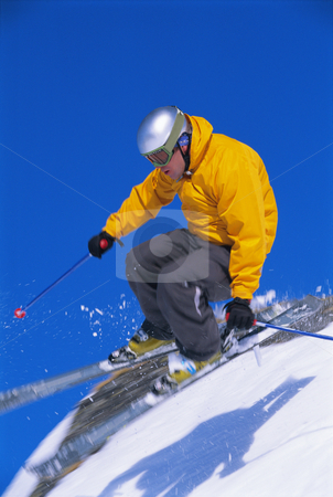 Man snow skiing stock photo, Man snow skiing by Monkey Business Images
