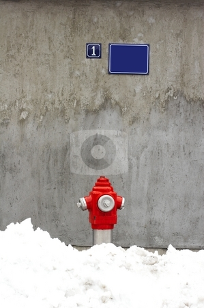 Fire hydrant stock photo, Fire hydrant and wall by Mark Yuill