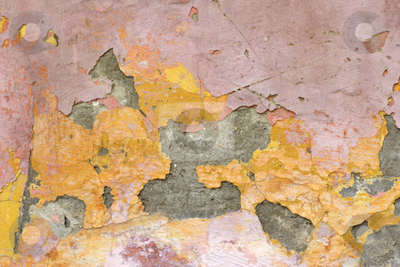 Flaking plaster and paint stock photo, Flaking plaster and paint on old wall by Mark Yuill