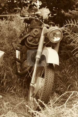 Classic old motorcycle stock photo, Classic old motorcycle in parked in countryside by Mark Yuill