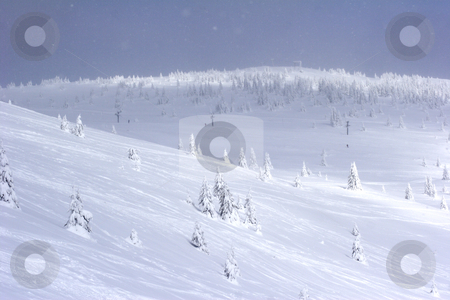 Snow covered mountain slope stock photo, Snow covered mountain slope with a ski lift in the background by Mark Yuill